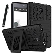 """Galaxy Tab A 7.0 Case, Tab A 7.0 Case, Asstar Shockproof Heavy Duty Rugged Hybrid Kickstand Protective Case for Samsung Galaxy Tab A 7"""" SM-T280 (2016 release) with 1x Stylus Pen for Free (Black)"""