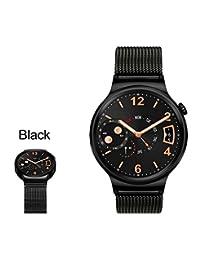 18mm Magnetic Milanese Loop Stainless Steel Magnet Closure Lock Bracelet Strap Band For Huawei Watch 2015(Loop Black)