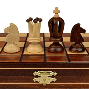 Mini Royal European Wood International Chess Set - 12-1/4'' x 12-1/4''