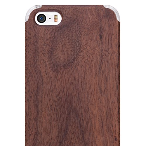 Frost Natural Wood - iCASEIT iPhone SE Wood Case - Premium Finish Unique Cases - Lightweight Natural Wooden Hybrid Snap-on Protective Cover for iPhone SE, 5S & 5 - Walnut/Clear