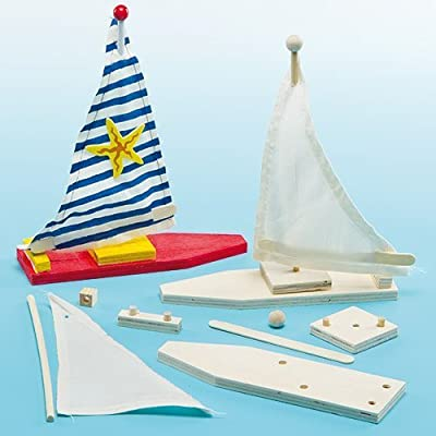 Baker Ross Make Your Own Wooden Sailboat Kits (Pack of 2) for Kids to Decorate and Display: Toys & Games