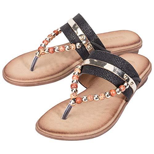 KOLDA Women's Sandals T-Strap Beaded Flat Softbed Memory Foam Comfy Shoes for Womens Ladies