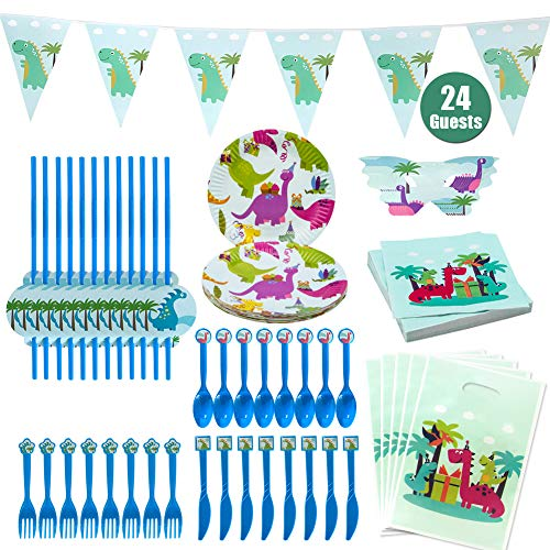 Hangnuo Dinosaur Party Supplies Favors for Kids Birthday - Serve 24 Guests Dino Tableware Kit with Plates, Spoons, Forks, Knives, Straw, Loot Bags, Napkins, Masks, Banner