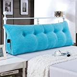 General Vercart Sofa Bed Large Upholstered Headboard Filled Triangular Wedge Cushion Bed Backrest Positioning Support Pillow Reading Pillow Office Lumbar Pad with Removable Cover Sky Blue 79 Inches