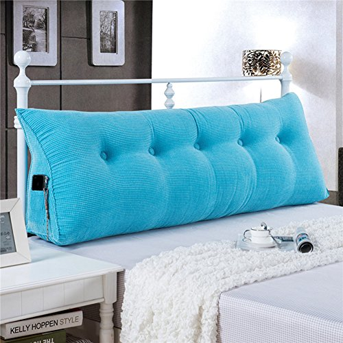 WOWMAX Large Filled Triangular Sofa Bed Back Cushion Positioning Support Backrest Pillows Reading Pillows with Removable Cover Sky Blue Queen