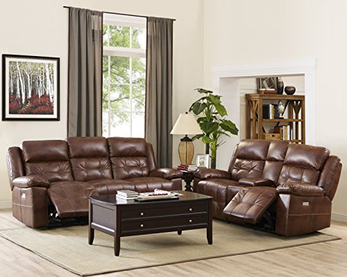 New Classic 20-2228-3FP Clayton Sofa, Loveseat and Glider with Power Head and Footrests Collection Loveseat Glider