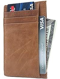 Leather RFID Blocking Minimalist Credit Card Holder Slim Pocket Wallets for Men & Women