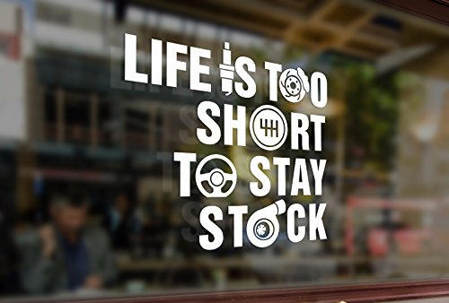 25cm Life is too short to stay stock Vinyl Sticker Funny Decals Bumper Car Auto Laptop Wall Window Glass Snowboard Helmet Macbook