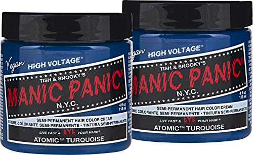 (Manic Panic Atomic Turquoise Hair Color Cream (2-Pack) Classic High Voltage, Semi-Permanent Hair Dye - Vivid, Blue Shade, For Dark, Light Hair, Vegan, PPD & Ammonia-Free,Ready-to-Use, No-Mix Coloring)