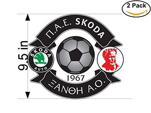 Skoda Xanthi FC Greece Soccer Football Club FC 2 Stickers Car Bumper Window Sticker Decal Huge 9.5 inches