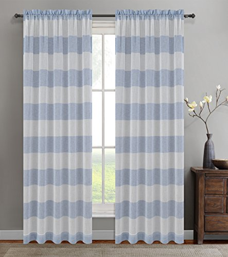 Urbanest 54-inch by 96-inch Set of 2 Nassau Faux Linen Sheer Striped Curtain Panels, Blue