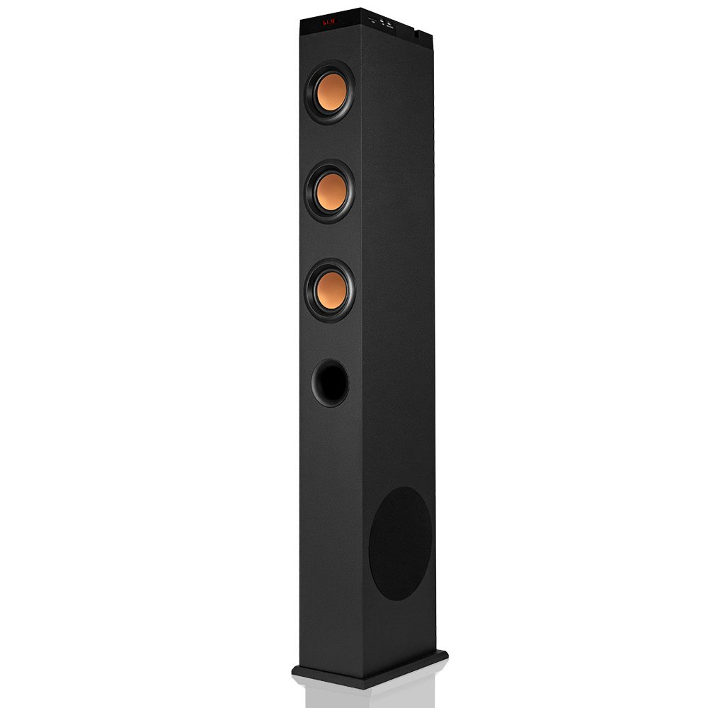 VENLOIC Music Floor Standing Bluetooth Tower Speaker with Subwoofer, 2.1Ch, 65W, Stereo Sound and Bass, Home Theater, Charging and Docking Station, FM Radio, Remote Control (Black, Gold)