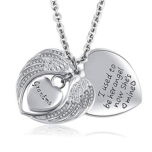 (SexyMandala Heart Love Angel Wing Cremation Jewelry Urn Necklace for Ashes Grandma Memorial Urn Pendant)