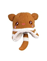 Beanie Hat Ear Flap Caps Kids Baby Girl Boys Autumn Winter Warm Ski Knitted Cap