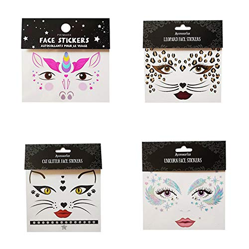 Luxanna Self Adhesive Face Sticker, Rave Festival Temporary Face Tattoo Kits, Forehead, Leg, Nails, Body Decorations Cute Stickers for Kids, Adult, 4 Pack -
