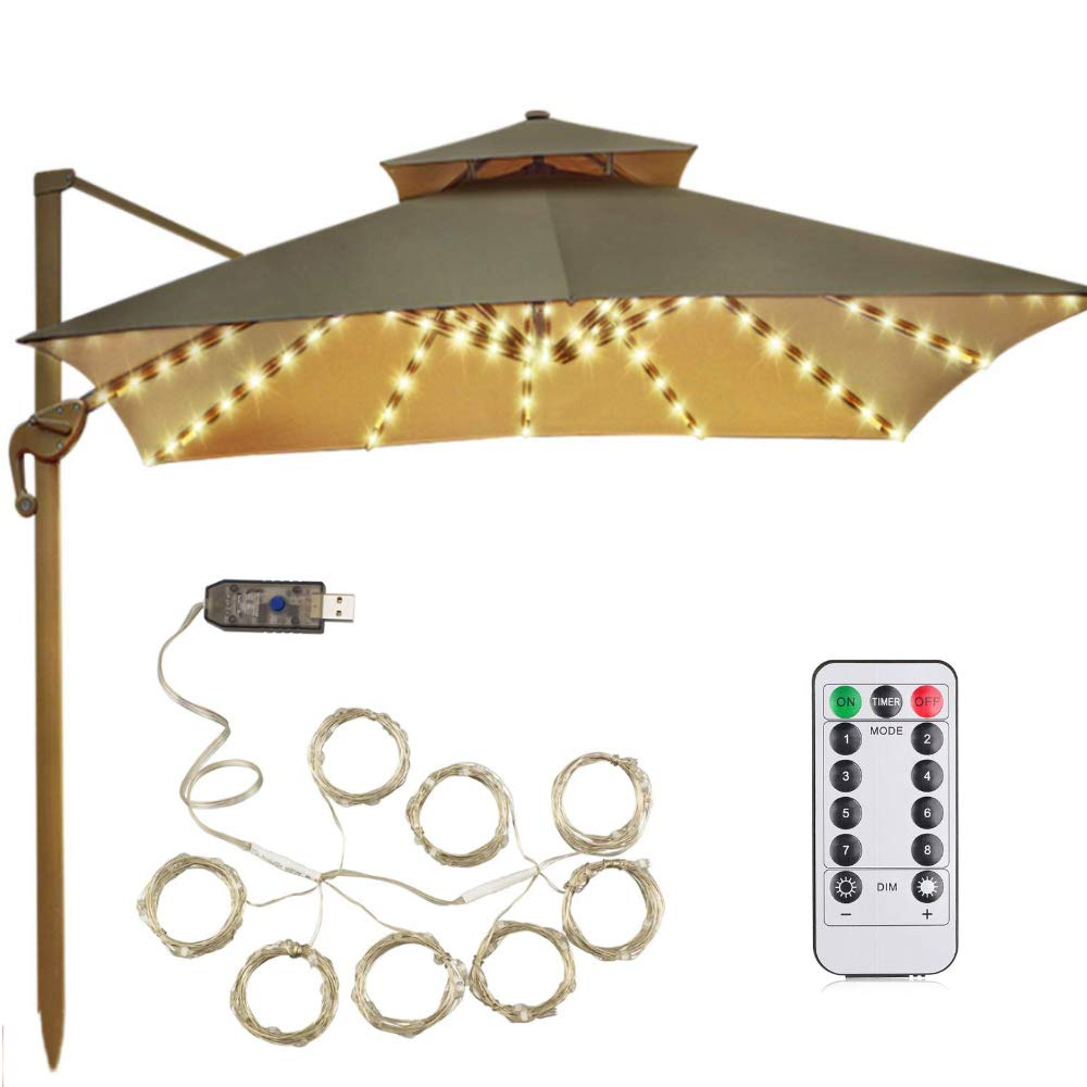 Upgraded Patio Umbrella Lights 8 Lighting Mode LED String Lights with Remote Control Umbrella Lights USB Operated Waterproof Outdoor Lighting for Patio Umbrellas Camping Tents (8X27 Leds, Warm White) by Ywhomal