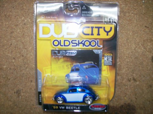 Dub City Jada Toys 1/64 Scale Diecast Old Skool Wave 1 1959 VW Beetle No#002 in Color Blue/white with Roof Rack (Beetle Vw Old)