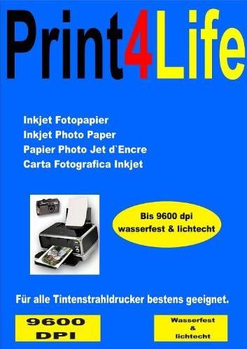 P4L – 50 Blatt Fotopapier DIN A4 , 230g/qm , high -glossy (hoch-glänzend) -sofort trocken -wasserfest-hochweiß-sehr hohe Farbbrillianz, für InkJet Drucker (Tintenstrahldrucker)