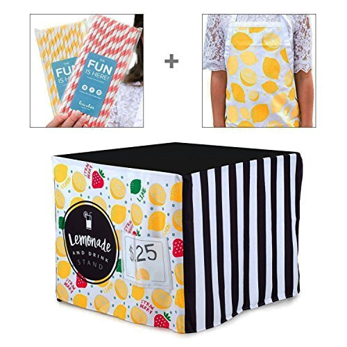 HIDEABOO Lil' Biz Easy Lemonade Stand(Black and White)Card Table Cover Bundle - Includes Children's Apron and 50Paper Straws (Down Home Lemonade Stand)