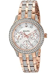 Bulova Womens Swarovski Crystal Quartz Stainless Steel Casual Watch, Color:Rose Gold-Toned (Model: 98N113)