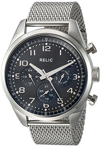 Relic Men's 'Collin' Quartz Stainless Steel Casual Watch, Color:Silver-Toned (Model: ZR15925) (Relic Steel Mesh Watch)
