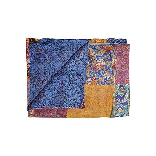 """Kantha Silk Throw Quilt Blanket 60″""""x90″"""""""