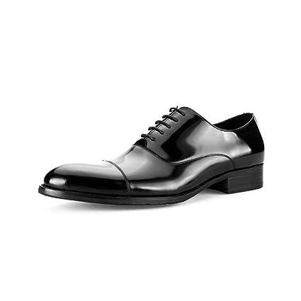 2fa7744c5763 Amazon.com: KTYXGKL Men's Shoes Leather Shoes Round Head Black Men's ...