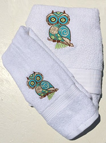 Embroidered Owls 3-piece Towel Set ~ Ivory & Sage (Allure Awesome Owls)