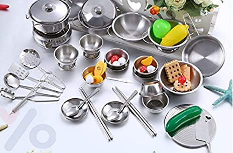 Stainless Steel Children Kitchen Toys Miniature Cooking Set Simulation Tableware For Kids 40 Pcs Toys Games Amazon Com