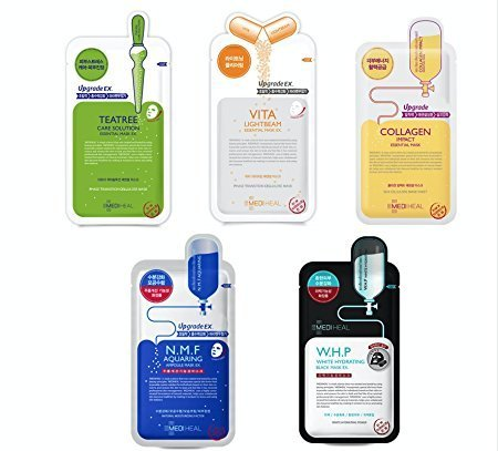 MEDIHEAL Best 5 Type Combo Mask Sheet Pack of 10 - Teatree, N.M.F Aquaring, Vita Lightbeam, Collagen Impact, W.H.P White Hydrating (Best Korean Face Mask Review)