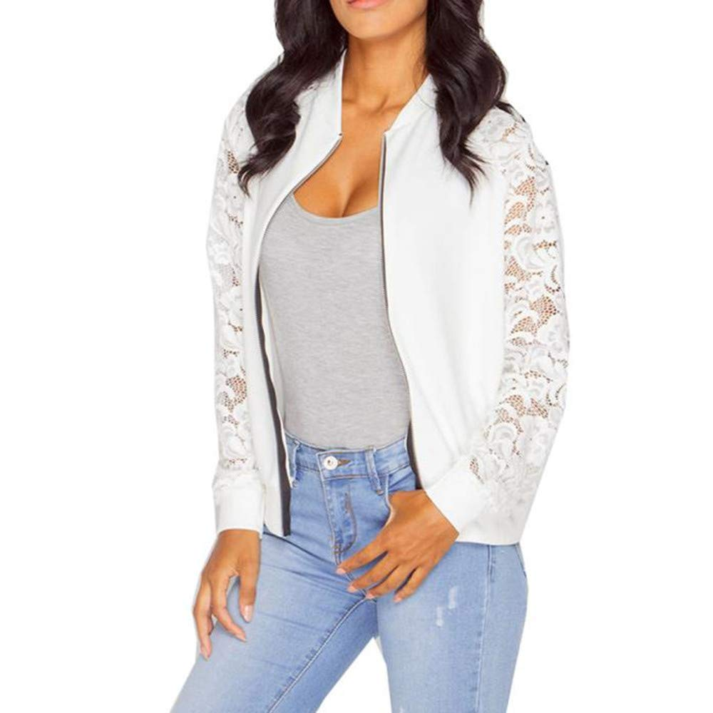 Gillberry Women Stand Collar Long Sleeve Zipper Floral Printed Bomber Jacket (White F, XXL) by Gillberry Women's Jacket