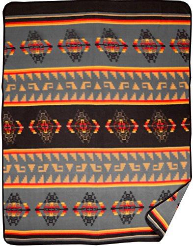 Southwest Fleece Blanket - El Paso Designs Native American Southwest Warm Smooth Cozy Lodge Blanket for Cabin, Home, Cottage or Chalet 80