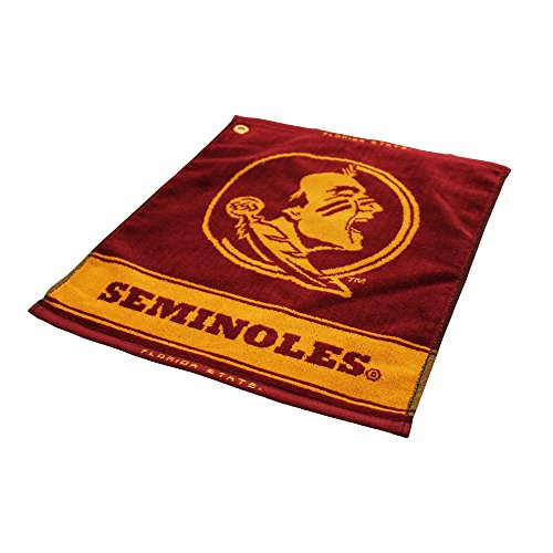 "Team Golf NCAA Florida State Seminoles Jacquard Woven Golf Towel, 16"" x 19"", 100% Cotton, Attach to Golf Bag with Corner Hook"