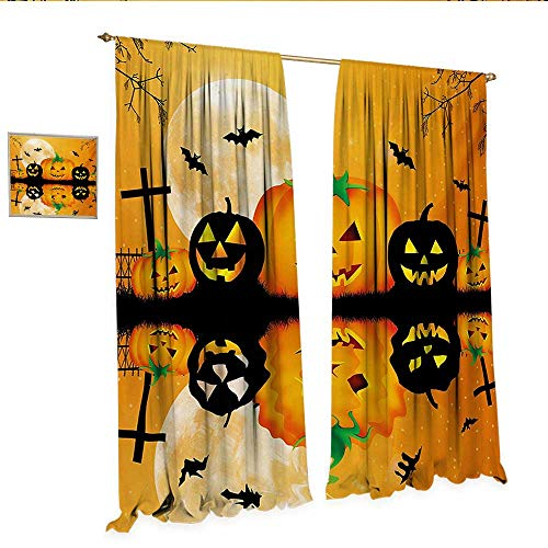 WinfreyDecor Halloween Decorative Curtains for Living Room Spooky Carved Halloween Jack o Lantern and Full Moon with Bats and Grave Lake Room Darkening Wide Curtains W72 x L96 Orange Black.jpg