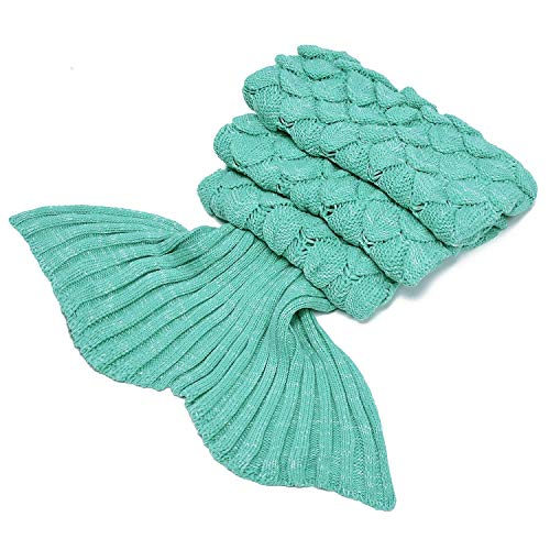 LAGHCAT Mermaid Tail Blanket with Scale Knit Crochet and Mermaid Blanket for Adult,Sleeping Blanket (71″x35.5″, Scale-Green)
