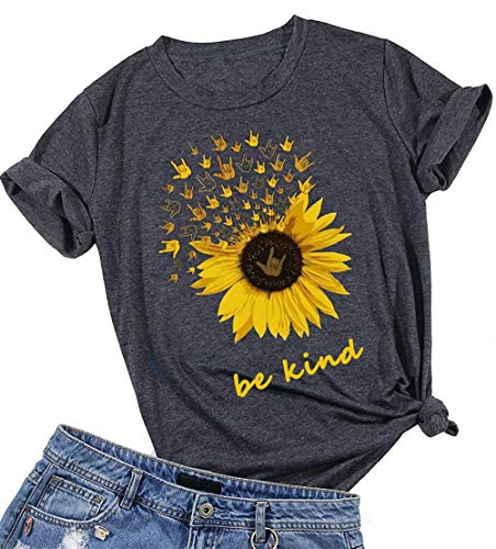 Enfei Be Kind T Shirts Women Sunflower Graphic Blessed Shirt Funny Inspirational Teen Girls Tees Tops