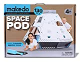 Makedo Cardboard Construction Space Pod - Ready To Build Construction Playset - STEM Learning Project - Stands Over 4 Ft Tall When Assembled - Includes 75 Reusable Tools