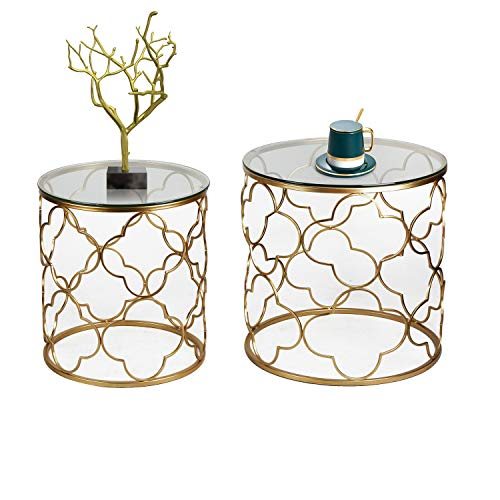 Joveco Gold End Table with Glass Top Decorative Metal Framework for Living Room Bedroom Set of 2(Gold-2)