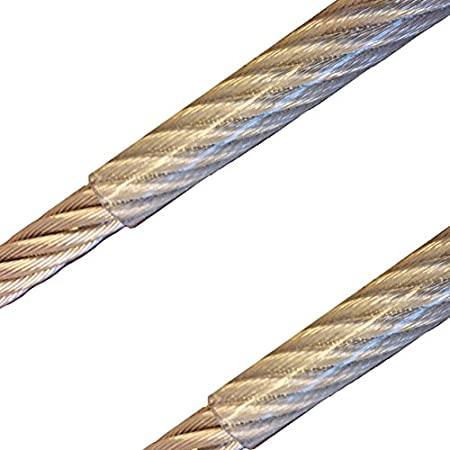 10 Meter - Edelstahldrahtseil 7x7 - 4mm/5mm PVC-transparent ummantelt V4A Inox rostfrei Drahtseil Stahlseil Gelä nderseil HTF