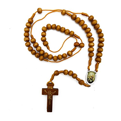 JewelryVolt Rosary Necklace Wooden Beads Braided Medal St Padre Pio Holy Relic (Tan)