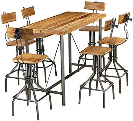 ROMELAREU Set Mesa y sillas de Bar Madera Teca Maciza reciclada 7 ...