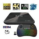 [3GB+32GB ] R-TV BOX S10 TV BOX Android 7.1 4K Amlogic S912 64bit Octa-core Ultra HD Smart TV Box Support Dual Band WIFI 2.4G/5.0G Ethernet 1000M Bluetooth 4.1 TV Set Top Box with Wireless Keyboard
