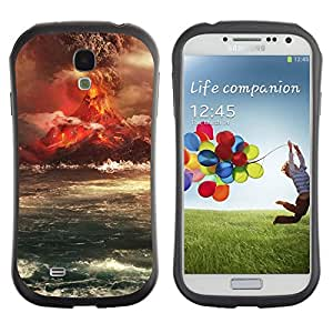 TopCaseStore Hybrid Rubber Case Hard Cover Protection Skin for SAMSUNG GALAXY S4 - Volcano Eruption Island