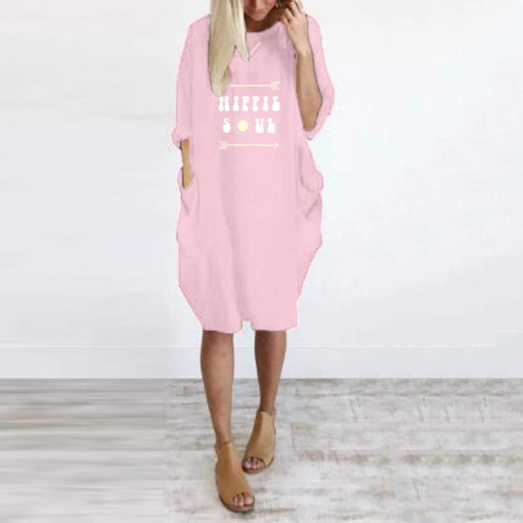 SMILEQ Vestido de Mujer Moda de Verano Hippie Soul Letra Falda ...