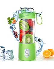 Portable Blender - Personal Size Blender Smoothies and Shakes USB Rechargeable Juicer Cup with 6 Powerful Blades Handheld Fruit Juicer 13oz Fruit Blender Mixer for Travel 380ML