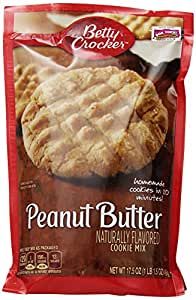 Betty Crocker Cookie Mix, Peanut Butter, 17.5-Ounce Pouches (Pack of 12)
