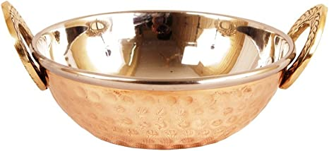 Copper Stainless Steel Kadai Kadhai 350 ML Wok Serving Dishes Pack of 1