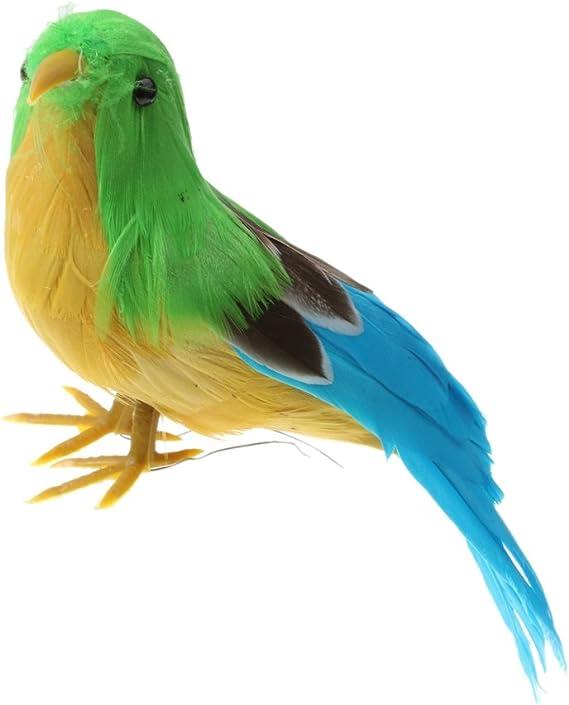Bleu MagiDeal Petit Oiseau Artificiel D/écoratif Ornement R/éaliste en Plumes Deco Jardin Maison 12cm Blanc