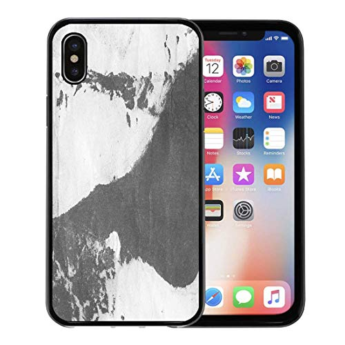 Semtomn Phone Case for Apple iPhone Xs case,Abstract Ink Marble Black Paint Stroke on White Mud Macro of Spackling Paste Gouache for Drywall for iPhone X Case,Rubber Border Protective Case,Black