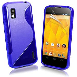 S Body LG Google Nexus 4 E960 TPU Gel Silicone Protective Case Cover Included Calans Screen Protector Film -(Blue)